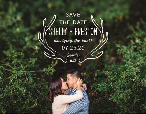Rustic antlers frame your text on the Back Country Save-the-Date Cards.