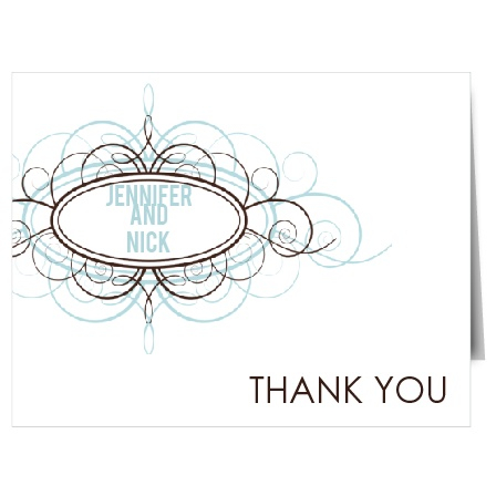 Modern and unique, the Ornamental Badge thank you card will let your guests know just how grateful you are!