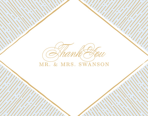 Rays emanate from a diamond frame on the Dazzling Diamond Foil Thank You Cards.