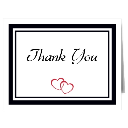 Intertwined hearts are a symbol of love, with the Double Hearts thank you card it will be easy for recipients to see your love!
