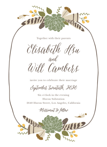 Create invites as free-spirited as you are with the Bohemian Floral Wedding Invitations.