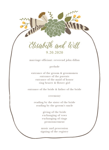 Organize your wild and rustic wedding ceremony with the Bohemian Floral Wedding Programs.