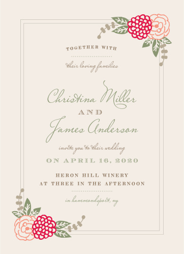 Create gorgeous invites with a botanical twist using the Floral Chic Wedding Invitations.