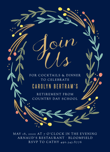 Honor a lifetime of hard work with the Floral Swirl Foil Party Invitations