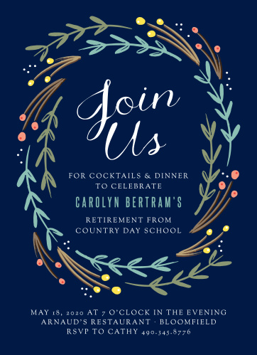 Honor a lifetime of hard work with the Floral Swirl Party Invitations.