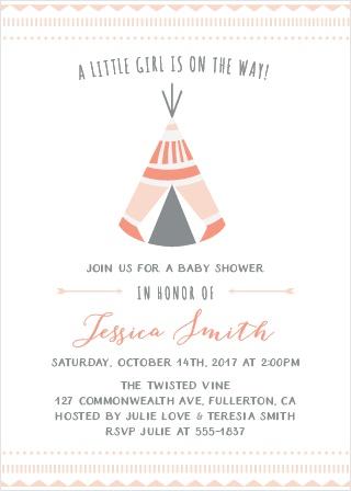 Geometric Teepee Baby Shower Invitations