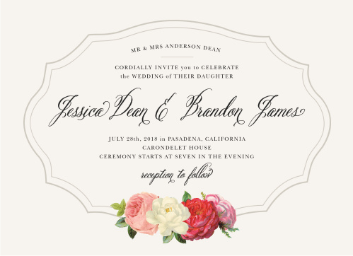 Framed by a duo of thin, smoky gray lines that add an impression of depth, and on a background of pearl white, our Vintage Florals Wedding Invitations are a beautifully simple card for a simply beautiful day.