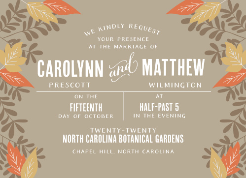 Autumn Wedding Invitations Match Your Color Style Free
