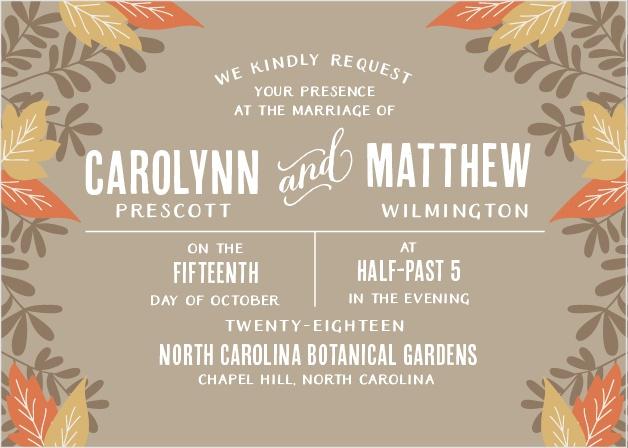 Autumn Leaves Foil Wedding Invitations