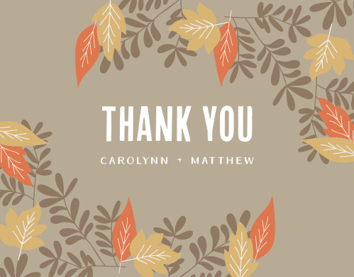 Finish your wedding stationery with the Autumn Leaves Foil Thank You Cards.