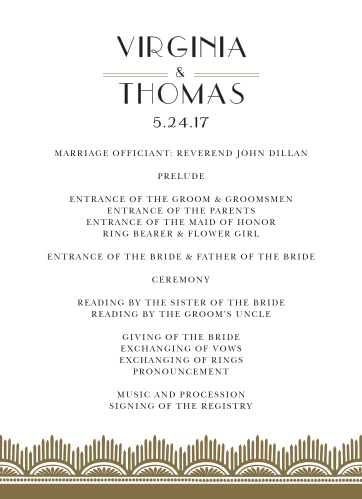 Dress your ceremony schedule with the vintage class of the Roaring Twenties Wedding Programs.
