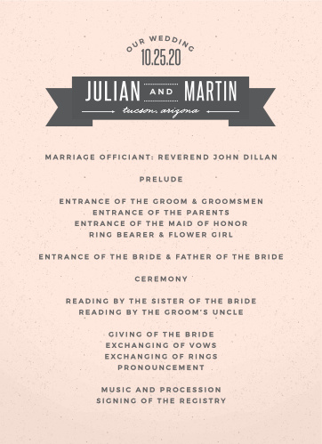 All Aboard for the wedding of your dreams! The All Aboard Wedding Programs, with their stylish ribbon and arched header, are a beautiful way to outline the events of your special day.
