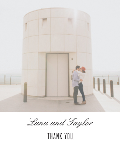 "Featuring a gorgeous photo of the two of you, your names, and the simple text ""Thank You"", our State of Mind Wedding Thank You Cards let you say everything you need to."