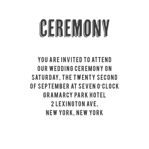 The Chalkboard Stamp Ceremony Cards offer a simple way to invite guests to the big event.