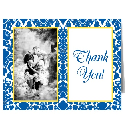 The bold design of The Damask Border thank you card is a modern, yet sophisticated way to thank your friends and family for their generosity.