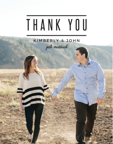 Express your gratitude to family and friends with the Modern Tendencies Wedding Thank You Cards.