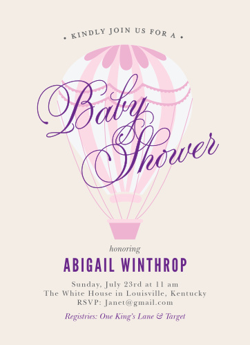 Ready to pop baby shower invitations match your color style free hot air balloon girl baby shower invitations filmwisefo
