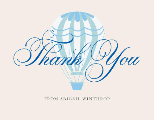 Thank friends and family for joining you on your grand adventure with the Hot Air Balloon Boy Thank You Cards.