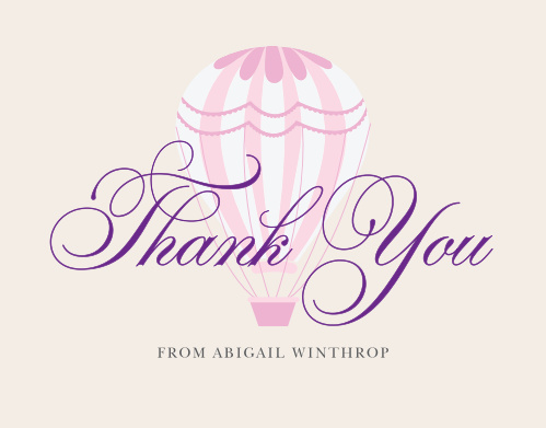 Thank friends and family for joining you on your grand adventure with the Hot Air Balloon Girl Thank You Cards.