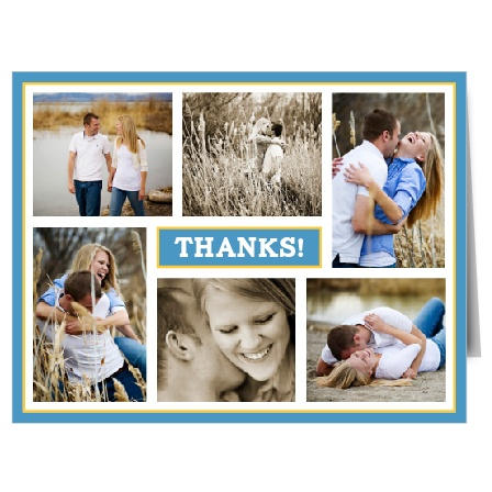 With room for six of your favorite photographs, the Modern Photo Collage is a highly personal thank you card that uses your photos and bold accents to express your gratitude to all your friends and family for their support and generosity.