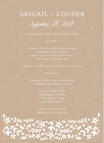 Make sure everything runs just as planned during your whimsically rustic wedding ceremony with the Silent Garden Wedding Programs.