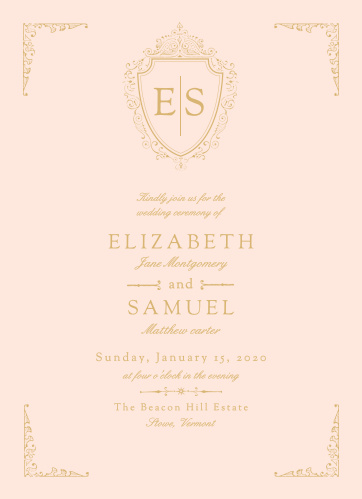 A luxurious badge containing your initials tops the Scrolling Monogram Foil Wedding Invitations.