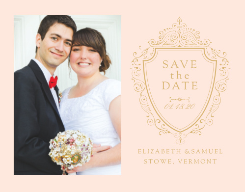 Declare your intent to wed with the vintage opulence of the Scrolling Monogram Foil Save-the-Date Cards.