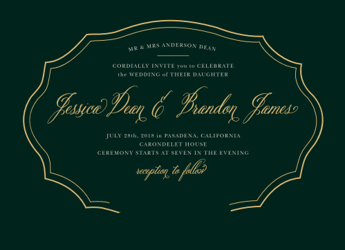 Framed by a duo of thin, gold foil lines that add an impression of depth, and on a background of eucalyptus green, our Vintage Florals Foil Wedding Invitations are a beautifully simple card for a simply beautiful day.