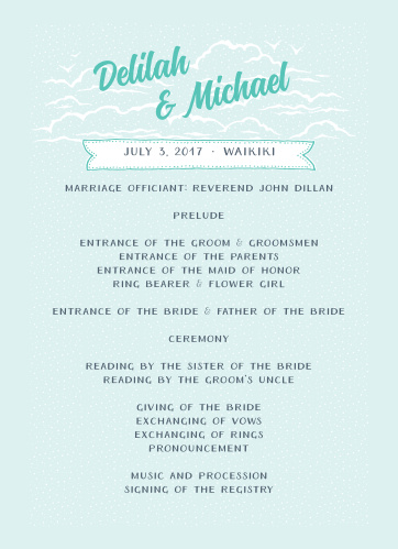 With the Modern Beachside Wedding Programs add your ceremony schedule to the front of this design in the font of your choice.
