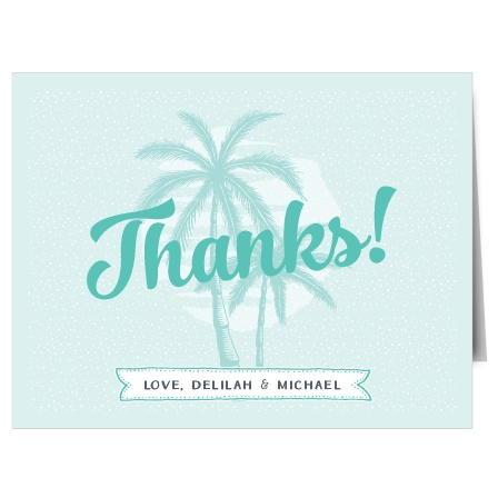 Delicate palm trees accent the Modern Beachside Thank You Cards.
