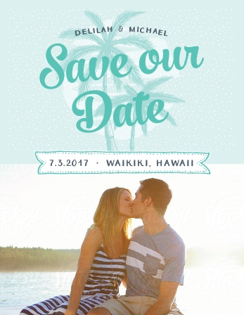 Modern Beachside Save-the-Date Cards