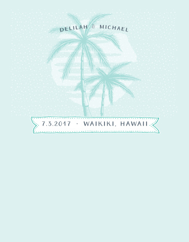 Delicate palm trees sit atop a picture of you and your loved on the Modern Beachside Save-the-Date Cards.