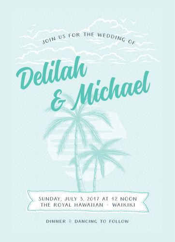 Delicate beach scene compliments the Modern Beachside Wedding Invitations.