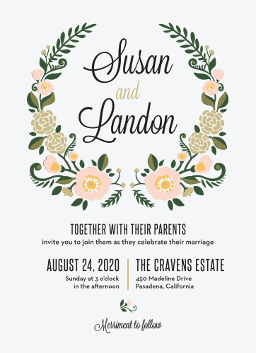 The Laurel Crown Wedding Invitation is packed with charm.