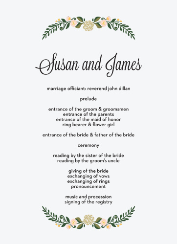 Introduce your wedding party in a romantic fashion with the Laurel Crown Wedding Programs.