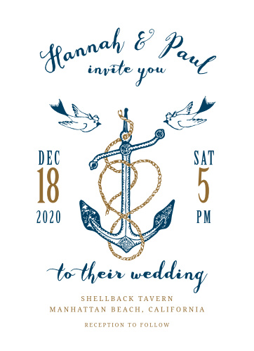 Want to show off your nautical wedding style? You will have smooth sailing when you invite your guests using the Anchors Aweigh Wedding Invitation!