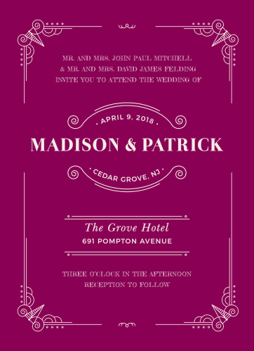 Our Vintage Novel Wedding Invitations use contrast as a primary method of appeal: white, elegant text is superimposed on a bliss pink background, ensuring that your cards are easy to read and easy on the eyes.