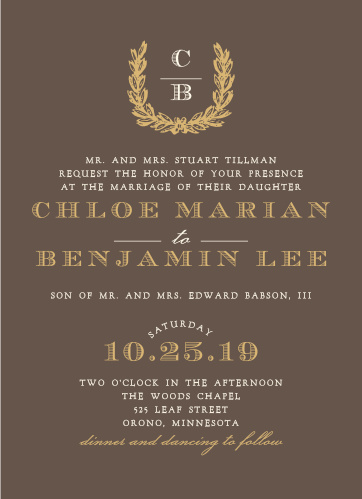 Vintage fonts and wreath make a brilliant accent for the Charming Woods Foil Wedding Invitations.