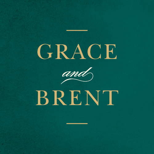 For our Deco Love Foil Stickers, we've written your names in an elegant gold foil typeface on a background of pine green.