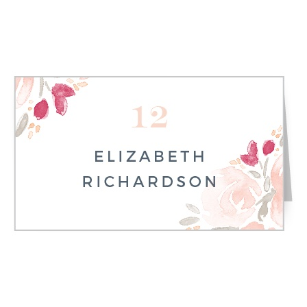 Watercolor paint and beautiful flowers meet on the Watercolor Bouquet Place Cards.
