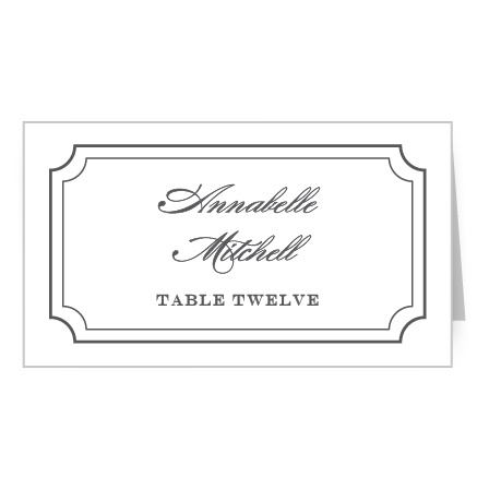 A double scallop frame gives the Elegant Script Place Cards a luxurious feel.