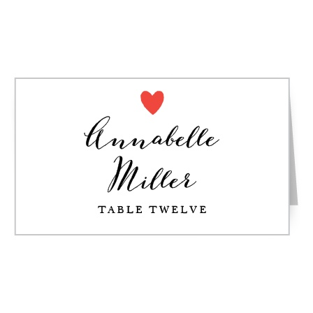 A cute heart tops the Script Heart Place Cards. Add your guests' names and table numbers in a chic mix of fonts.