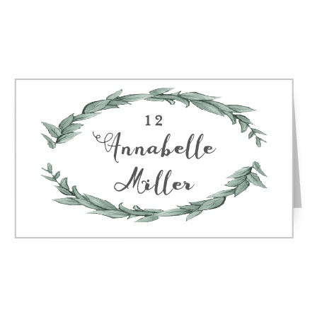 Gorgeous laurels surround your text on the Leafy Love Place Cards. Add your guests' names and table numbers to the center in your choice of over 100 hand-picked fonts.