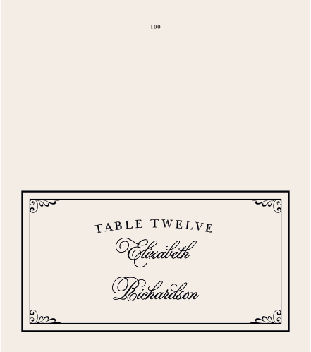 Elegant typefaces and corner embellishments give the Grand Victorian Place Cards sophisticated appeal.