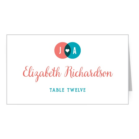 The Modern Venn Place Cards colorful design features your initials and a heart in a cute Venn Diagram.