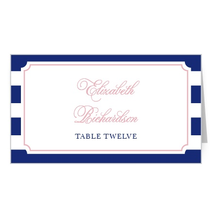 Thick stripes and a delicate frame adorn your guests' name and table number.