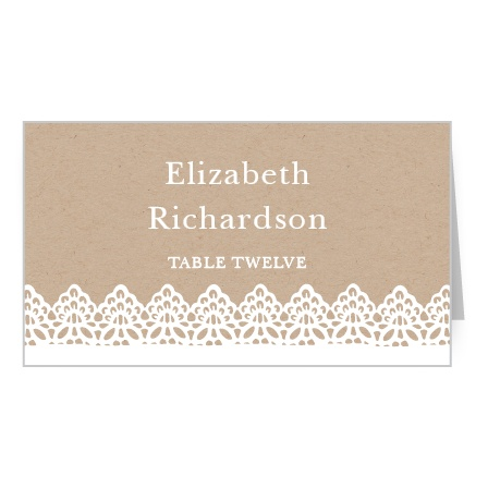 Delicate lace lines the bottom of the Rustic Lace Place Cards.