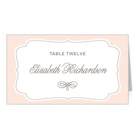 Accent your guests' names and table number with the elegant and timeless style on the Vintage Frame Place Cards.