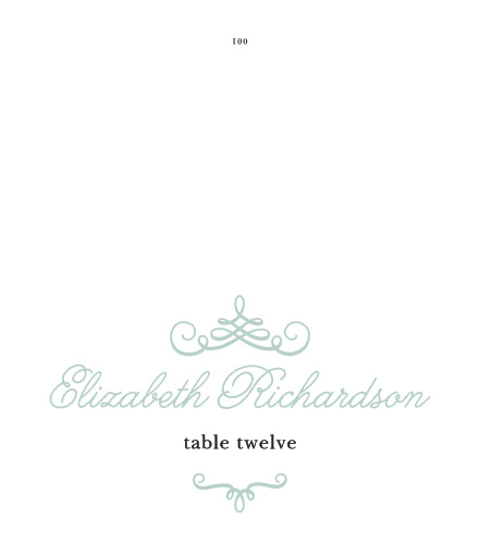Elegant typefaces and embellishments give the Whimsical Script Place Cards regal appeal.
