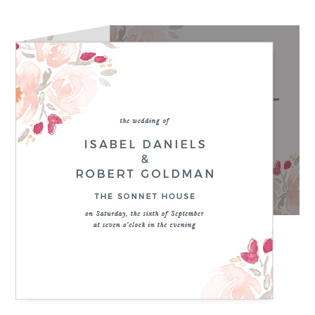 Give guests all the details with the Watercolor Bouquet Storybook Wedding Invitations.